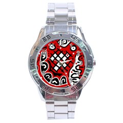 Red high art abstraction Stainless Steel Analogue Watch