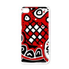 Red high art abstraction Apple iPhone 4 Case (White)
