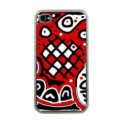 Red high art abstraction Apple iPhone 4 Case (Clear)