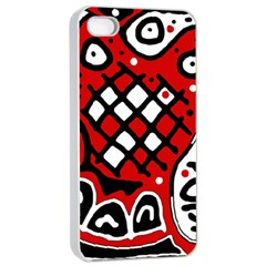 Red high art abstraction Apple iPhone 4/4s Seamless Case (White)