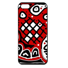 Red high art abstraction Apple iPhone 5 Seamless Case (Black)