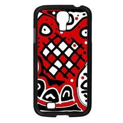 Red high art abstraction Samsung Galaxy S4 I9500/ I9505 Case (Black)