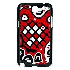 Red high art abstraction Samsung Galaxy Note 2 Case (Black)