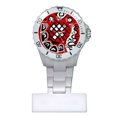 Red high art abstraction Plastic Nurses Watch