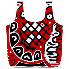 Red high art abstraction Full Print Recycle Bags (L)