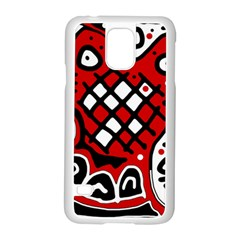 Red high art abstraction Samsung Galaxy S5 Case (White)