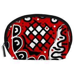 Red high art abstraction Accessory Pouches (Large)