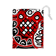 Red high art abstraction Drawstring Pouches (Large)