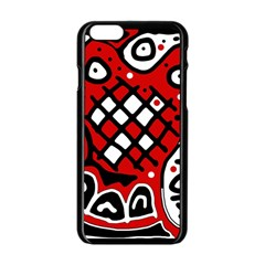Red high art abstraction Apple iPhone 6/6S Black Enamel Case