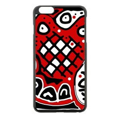 Red high art abstraction Apple iPhone 6 Plus/6S Plus Black Enamel Case