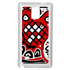 Red high art abstraction Samsung Galaxy Note 4 Case (White)
