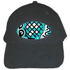 Cyan high art abstraction Black Cap