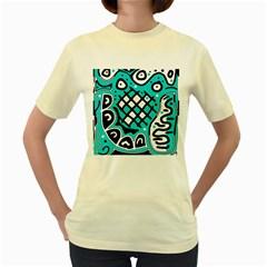 Cyan high art abstraction Women s Yellow T-Shirt