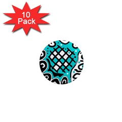 Cyan high art abstraction 1  Mini Magnet (10 pack)