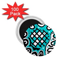 Cyan high art abstraction 1.75  Magnets (100 pack)
