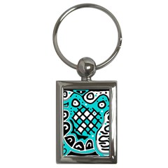 Cyan high art abstraction Key Chains (Rectangle)