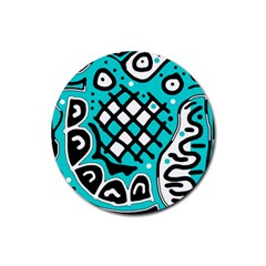 Cyan high art abstraction Rubber Coaster (Round)