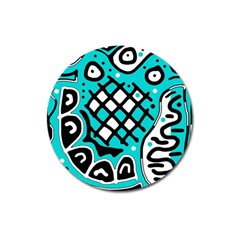 Cyan high art abstraction Magnet 3  (Round)