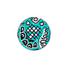 Cyan high art abstraction Golf Ball Marker (4 pack)