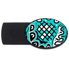 Cyan high art abstraction USB Flash Drive Oval (2 GB)