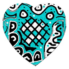Cyan high art abstraction Jigsaw Puzzle (Heart)