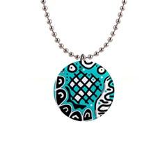Cyan high art abstraction Button Necklaces