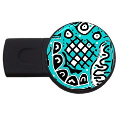 Cyan high art abstraction USB Flash Drive Round (4 GB)