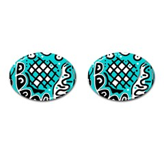 Cyan high art abstraction Cufflinks (Oval)