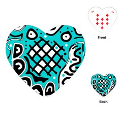 Cyan high art abstraction Playing Cards (Heart)