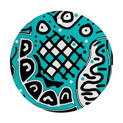 Cyan high art abstraction Round Ornament (Two Sides)