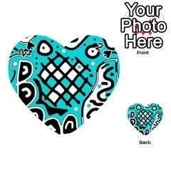 Cyan high art abstraction Playing Cards 54 (Heart)