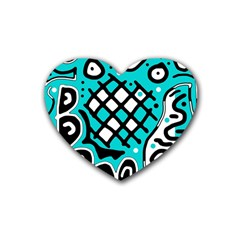 Cyan high art abstraction Rubber Coaster (Heart)
