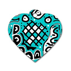 Cyan high art abstraction Dog Tag Heart (Two Sides)