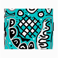 Cyan high art abstraction Small Glasses Cloth (2-Side)