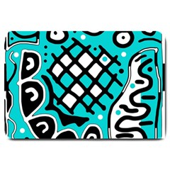 Cyan high art abstraction Large Doormat