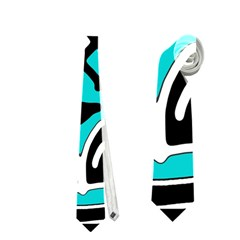 Cyan high art abstraction Neckties (One Side)