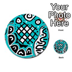 Cyan high art abstraction Multi-purpose Cards (Round)