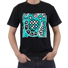 Cyan high art abstraction Men s T-Shirt (Black)