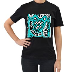 Cyan high art abstraction Women s T-Shirt (Black)