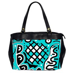 Cyan high art abstraction Office Handbags (2 Sides)