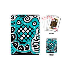 Cyan high art abstraction Playing Cards (Mini)