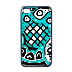 Cyan high art abstraction Apple iPhone 4 Case (Black)