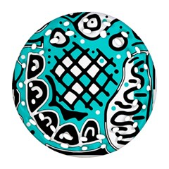 Cyan high art abstraction Round Filigree Ornament (2Side)