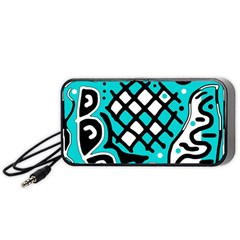 Cyan high art abstraction Portable Speaker (Black)