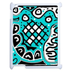 Cyan high art abstraction Apple iPad 2 Case (White)