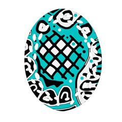 Cyan high art abstraction Ornament (Oval Filigree)