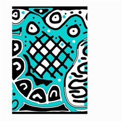 Cyan high art abstraction Large Garden Flag (Two Sides)