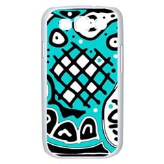 Cyan high art abstraction Samsung Galaxy S III Case (White)