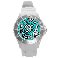 Cyan high art abstraction Round Plastic Sport Watch (L)