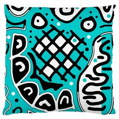 Cyan high art abstraction Large Cushion Case (One Side)